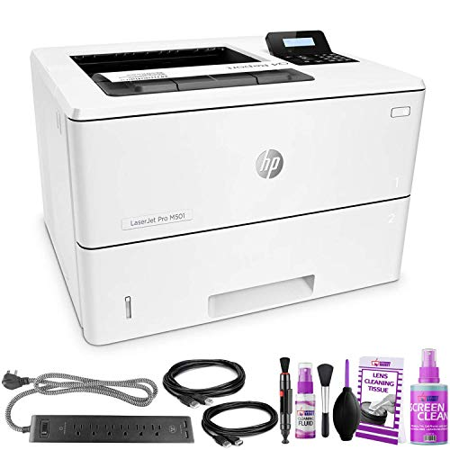 HP Laserjet Pro M501dn Monochrome Laser Printer – with Extra Extension Cables – Surge Protector – Productivity Bundle