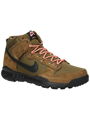 Nike Sb Dunk High Oms (military Brown/dark Khaki/black) Mens Skate Shoes (8)