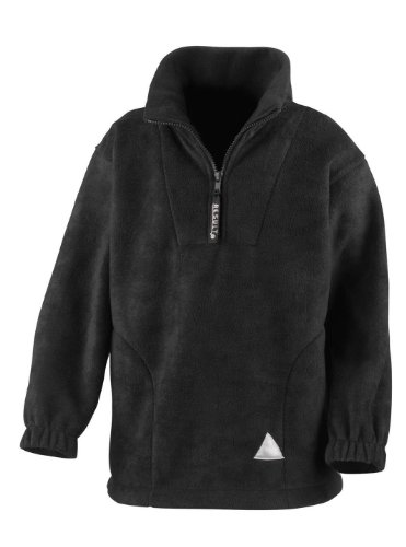Neck Result Zip Active Black Fleece Kids Youths wft4S
