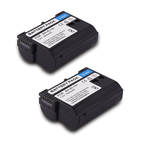 EN EL15 EN-EL15 Battery(2 pack) Replacement Li-ion Battery for Nikon 1 V1 D600 D800 D800E D810A D750 D7000 D7100 D610 D7200 Camera (battery)