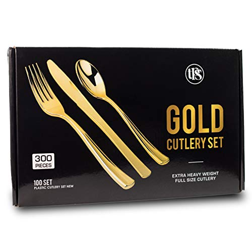 300 Elegant Disposable Gold Plastic Silverware Utensils - Heavy Duty Set Pieces of 100 Spoons, 100 Knives, 100 Forks Disposable Cutlery Plastic Set - 100% Customer Satisfaction Guarantee ()