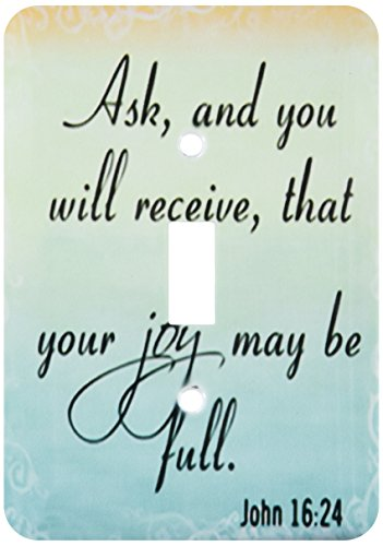 Price comparison product image 3dRose lsp_150078_1 Bible Verse John 16-24 Gradient Pastel Bible Christian Inspirational Saying Light Switch Cover