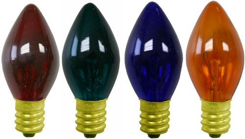 C-7 Multi Colored Transparent Christmas Light Replacement Bulbs [LC C7T-M] (C-5 Tree Christmas Lights)