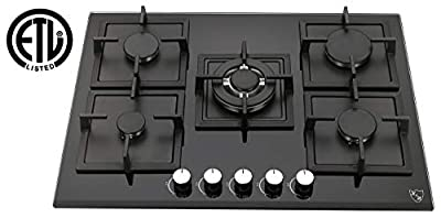 "K&H 5 Burner 30"" NATURAL Gas Glass Cooktop 5-GCW"