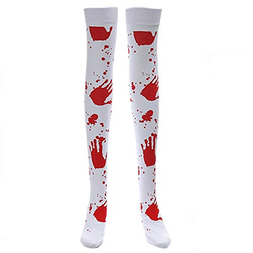 Boys Costume Accessories - 1 Pair Halloween Over Knee Socks Bloody Printing Polyester Dress Party Costume Socking W77 - Boys Costume Accessories Boys Costume Accessories Halloween Sock -