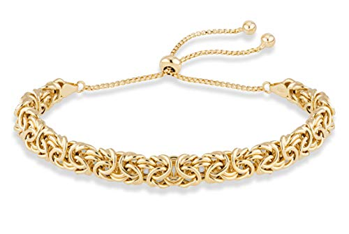 (MiaBella 18K Gold Over Sterling Silver Italian Byzantine Adjustable Bolo Link Chain Bracelet for Women 925)