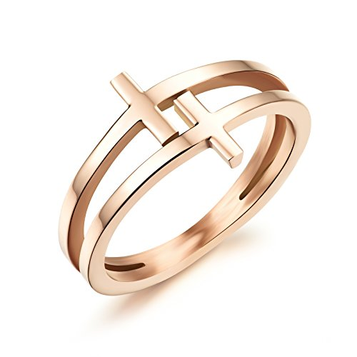 Fashion Personality 18K Rose Gold Ring Titanium Double Cross Band Jewelry Gifts for Christmas Wedding Engagement Accessories