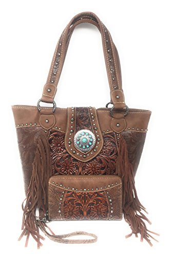 Set of Trinity Ranch Concealed Carry Zip Top Shoulder Bag Tote Floral Tooled Leather Handbag Purse With Fringe And Western Styling With Matching Wallet (Brown - Brown Leather Purse Western Tooled