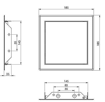 20114-006 Revisionsklappe Revisionst/ür Wartungs-Inspektionsklappe Metall pulverbeschichtet wei/ß 600 x 600 mm MKK