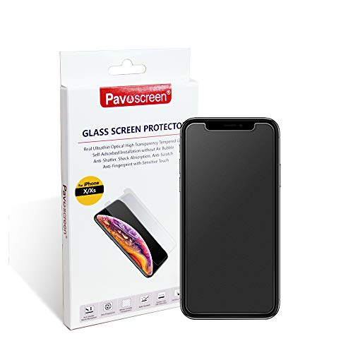 "Anti Glare Matte Screen Protector for iPhone Xs/iPhone X 5.8"", Pavoscreen Easy Install Bubble Free [Case Friendly] iPhone Xs & X Tempered Glass"