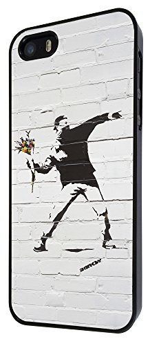 549 - Banksy Grafitti Art Wall Flower Thrower Funky Design iphone 4 4S Coque Fashion Trend Case Coque Protection Cover plastique et métal - Noir