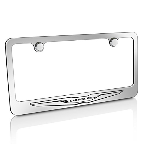 Chrysler Stainless Steel License Plate Frame Logo Etched Chrome Made in USA Frame Mirror Bright Chrome (License Plate Frame Chrysler)