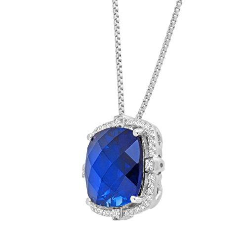 Cushion-cut Créé Saphir et diamant Pendentif en argent (1/5CT, I-j Couleur, Clarté I2-I3), 45,7cm