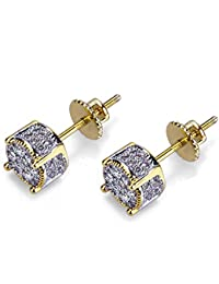 Iced Out Cubic Zirconia Twotone Micropave 925 Sterling...