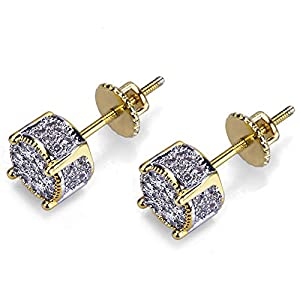 Iced Out Cubic Zirconia Screw Back 18k Gold Plated Round Stud Earring For Men and Women Hypoallergenic Earring TwoTone Micropave Hip Hop Jewelry SENTERIA