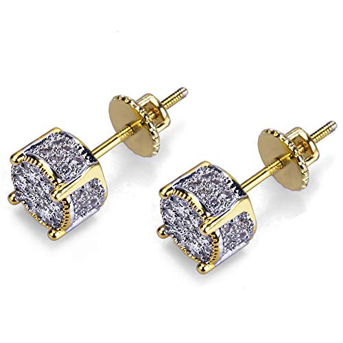SENTERIA Iced Out Cubic Zirconia Twotone Micropave 925 Sterling Silver Cubist Screw Back 18k Gold Plated 3D Round Stud Earring for Men and Women Hypoallergenic Men Earring Hip Hop Jewelry (Style 1)