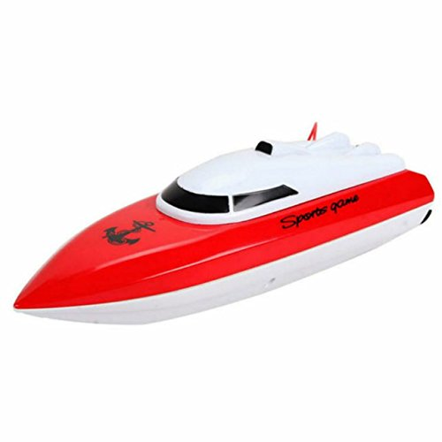 SZJJX RC Boat Remote Control Racing Boat High Speed Electric 4 Channels for Pools, Lakes and Outdoor Adventure JX802 Red