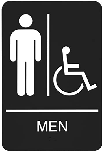 headline sign 9003 ada wheelchair accessible mens restroom sign with tactile graphic 6 inches by