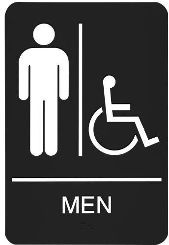 Headline Sign 9003 ADA Wheelchair Accessible Men's Restroom Sign with Tactile Graphic, 6 Inches by 9 Inches, Black/White