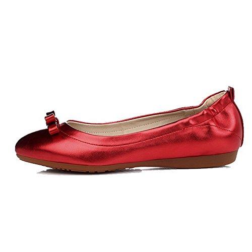VogueZone009 Damen Lackleder Rund Zehe Ohne Absatz Ziehen auf Rein Flache Schuhe, Rot, 39