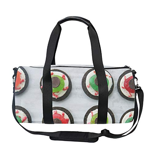 Halloween Eyeball Dessert Duffel Style Carry On Sports Travel Bag with Shoulder Strap, Zippered -
