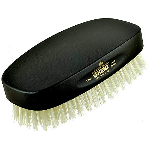 - Kent MN1B Rectangular Military Ebony Wood Pure White Bristle Gentlemen's Hairbrush