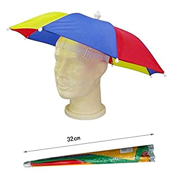 Ladies Mens Adult Multi Colour Festival Essential Umbrella Rain Hat Fancy  Dress Blue Red  2b94a745084