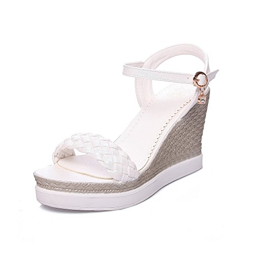 Toe Open Pu amp; High Solid Heels White Platforms Women's Buckle Wedges AllhqFashion 5wqTzIXX