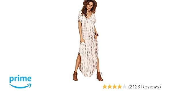 cebb28fd6e54 MAKEMECHIC Casual Maxi Short Sleeve Split Tie Dye Long Dress at Amazon  Women's Clothing store: