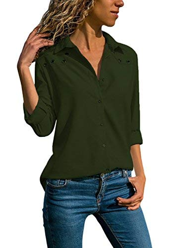 - Ecrocoo Women Button Down Long Sleeve Collar T Shirt Casual Tops Solid Office Blouse Amy Green L