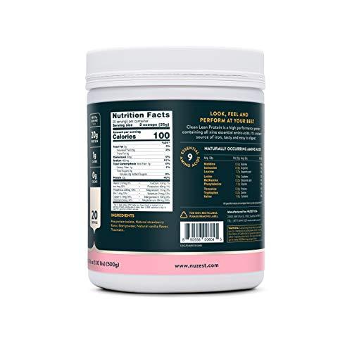 Nuzest Clean Lean Protein - Premium Vegan Protein Powder, Plant Protein Powder, European Golden Pea Protein, Dairy Free, Gluten Free, GMO Free, Naturally Sweetened, Wild Strawberry, 20 SRV, 17.6 oz