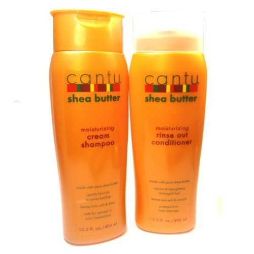 Cantu Moisturizing Cream Shampoo 13.5 oz & Moisturizing Rinse Out Conditioner 13.5 oz by Cantu