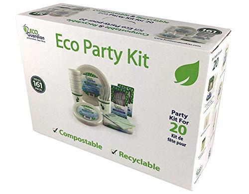 Compostable Party Kit for 20, Convenient Disposable Tableware Set, 161 pc Count