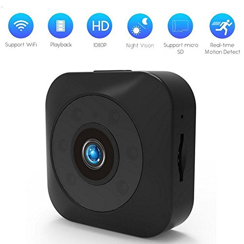Ocamo Mini WiFi Full HD 720P Camera Back-Magnetic Camcorder with Night Vision and Motion Detection Alarm Remote Playback black by Ocamo