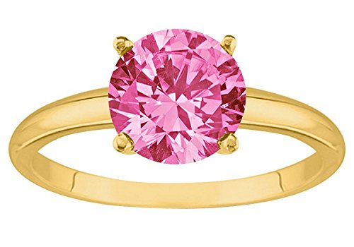 2 Carat 14K Yellow Gold Round Pink Sapphire 4 Prong Solitaire Diamond Engagement Ring (AAA Quality) ()