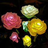 Anpro Solar Garden Rose Lights, 3 Waterproof Solar Lights with 6 Roses for Garden, Courtyard, Backyard Decoration Perfect Valentine's Day Gift (White, Pink and Yellow)