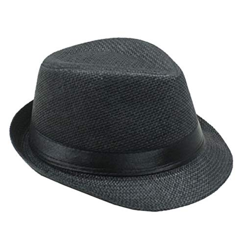 List A Banded Straw Fedora Hat for Kids Trilby Gangster, Black, Size One Size Fits Most]()