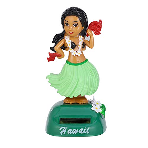 Amosfun Dashboard Hula Girl Bobble Head Solar Powered Hawaiian Hula Shaking Head Dancing Toy Figure Doll for car Interior Decorations Ornament (Green)
