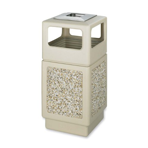 Safco Products Canmeleon Outdoor/Indoor Aggregate Panel Trash Can with Ash Urn 9473TN, Tan, Decorative Fluted Panels, Stainless Steel Ashtray, Weather Resistant