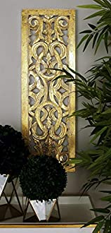"Deco 79 96070 Wood Wall Panel, 12"" x 36"", Gold"