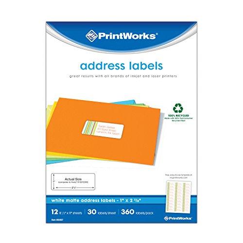 "Recycled Address Labels - Printworks White Address Labels for Inkjet or Laser Printers or Copiers, 100% Recycled, Label Size 1"" x 2-5/8"", 30 Labels per Sheet, 360 Labels per Pack, (00487)"