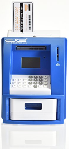 Children's Mini ATM Machine Safe Deposit Box Savings Bank - Automatic U.S. Coin Counter with Bill Slot - Savings Goal Tracker, Calculator, Passcode Protected Banking Device for Kids (Blue) - Kid Atm Bank Machine
