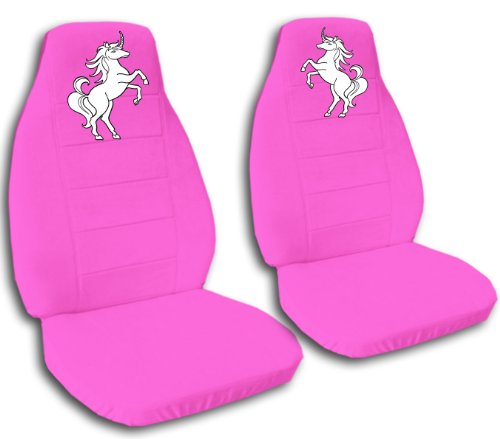 Amazon 2 Hot Pink Front Seat Covers With A Unicorn 2002 Mini Cooper Please Notify Us If You Have Side Airbags Automotive