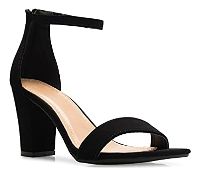 OLIVIA K Women's Sexy Dress Shoes - Open Toe Glitter Rhinestone Block Heel Sandals - Buckle, Zipper