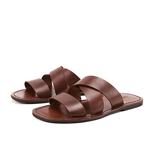 marron 44-EU Arrivée été Hommes Diapositives Vache en Cuir Plage Pantoufles Non-Slip Pantoufles Hommes chaussures Hombre Décontracté Chaussures Hommes,Chaussures de Cricket (Couleur   marron, Taille   41-EU)