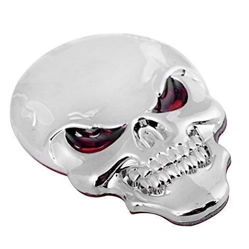 (3M Red Eye 3D Chrome Silver Demon Skull Bone Devil Badge Sticker Logo Fender Cruiser Bobber Chopper Sport)