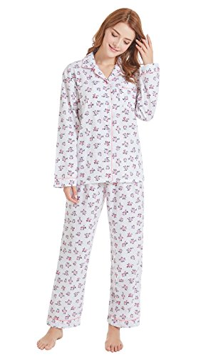 Women's 100% Cotton Pajamas, Long Sleeve Woven Pj Set Sleepwear from Tony & Candice (L=US (12-14), White and Flowers)