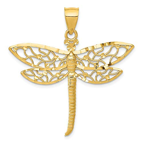 14k Yellow Gold Dragonfly Necklace Pendant Charm Insect Fine Jewelry Gifts For Women For Her ()