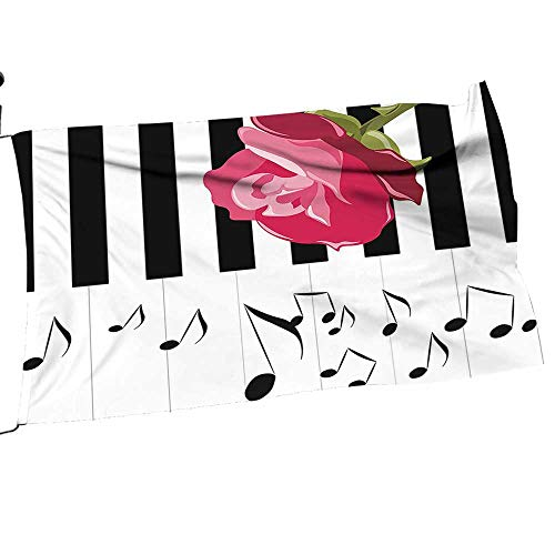 painting-home Garden Flag and Pole Set Red Rose Piano Not Romantic Instrumental Scarlet Black White Double Sided Outdoor Holidays Yard Flags16 x ()