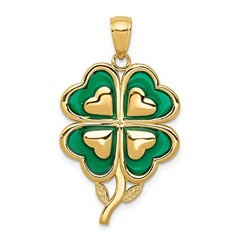 14k Yellow Gold 4 Leaf Clover Pendant Charm Necklace Enameled Tips Celtic Claddagh Fine Jewelry Gifts For Women For Her ()